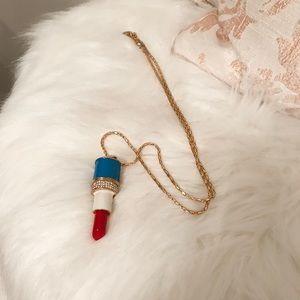 Jewelry - Betsey Johnson Lipstick Gold Necklace